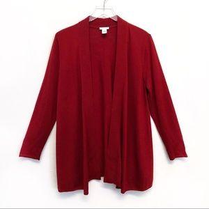 J. Jill | Deep Red Wool Blend Open Soft Cardigan